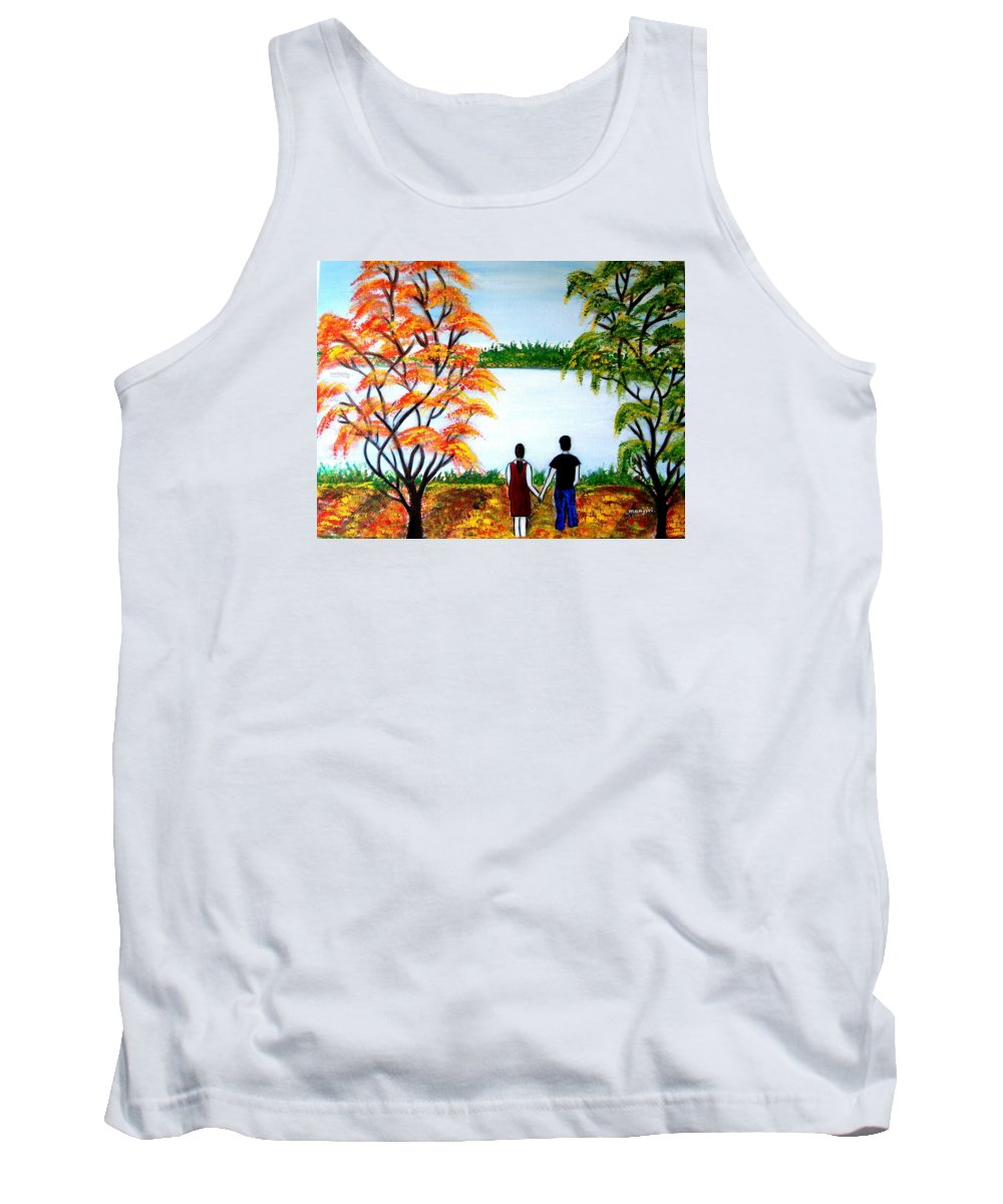Romance Figures Autumn Orange Trees Green Pop Water Lake Love Valentine Yellow Lake Spring Bloom Tank Top featuring the painting Romance In Autumn by Manjiri Kanvinde