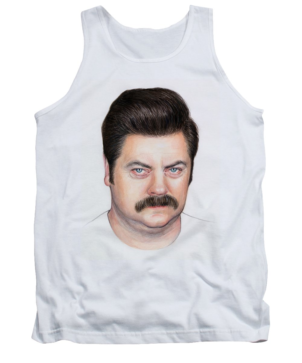 Ron Swanson Tank Top featuring the painting Ron Swanson Portrait Nick Offerman by Olga Shvartsur