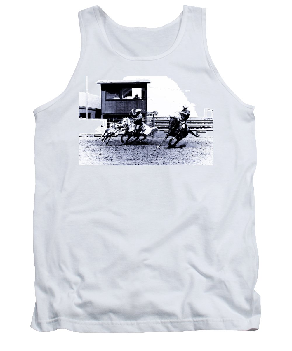 Rodeo Tank Top featuring the photograph Roping 1 by Scott Sawyer