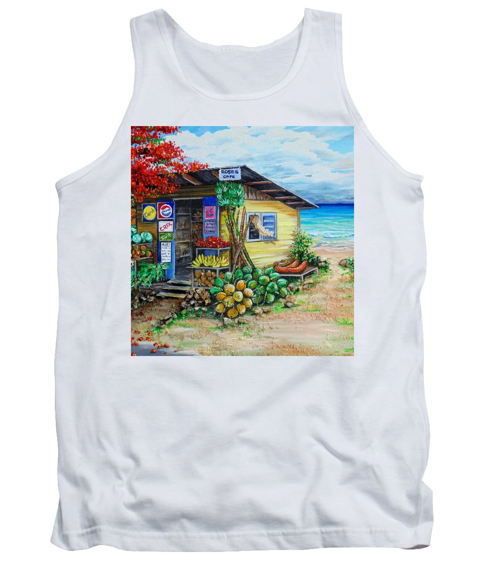 Beach Cafe Tank Top featuring the painting Rosies Beach Cafe by Karin Dawn Kelshall- Best