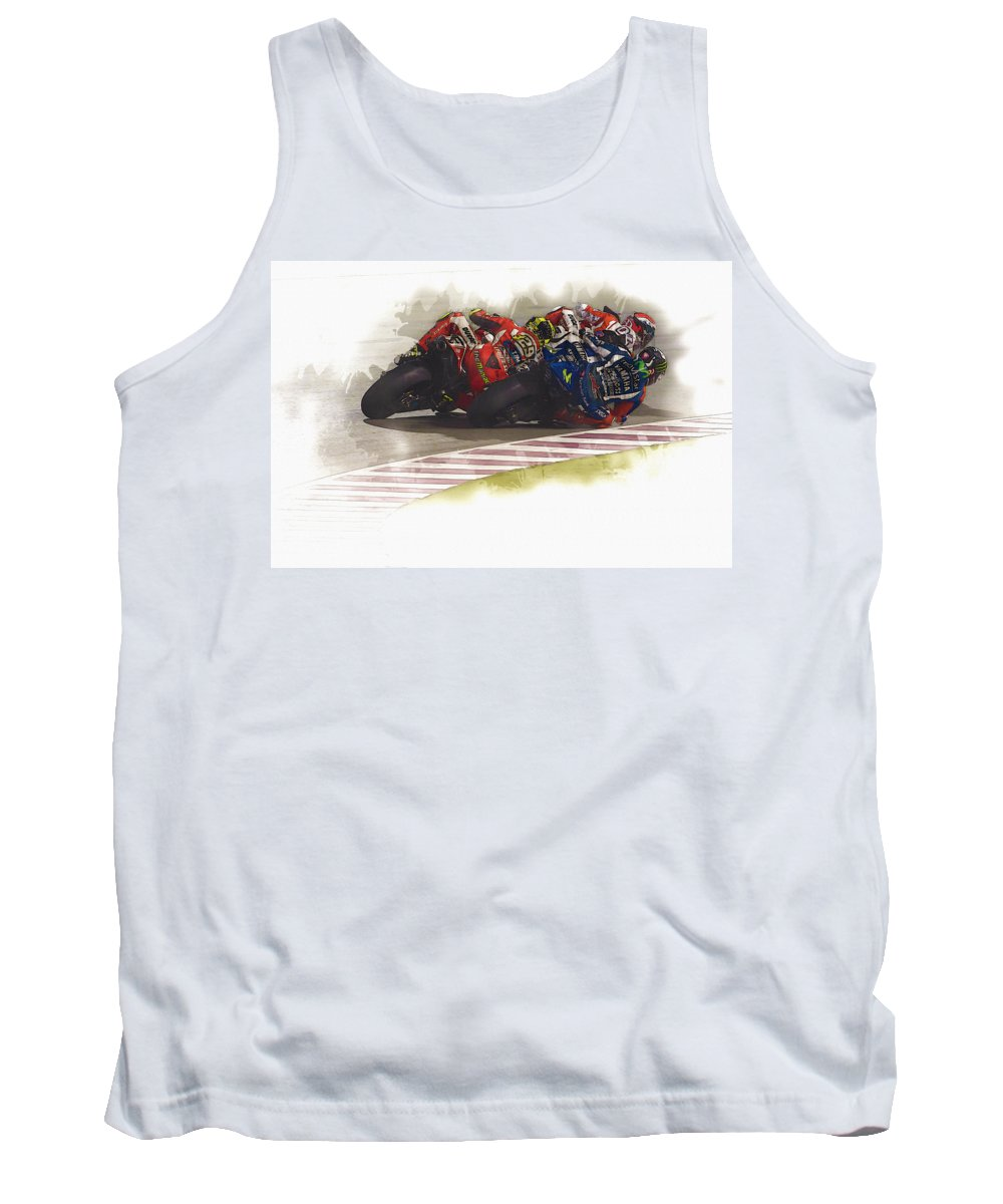 Marc Marquez Tank Top featuring the digital art Round The Bend by Don Kuing