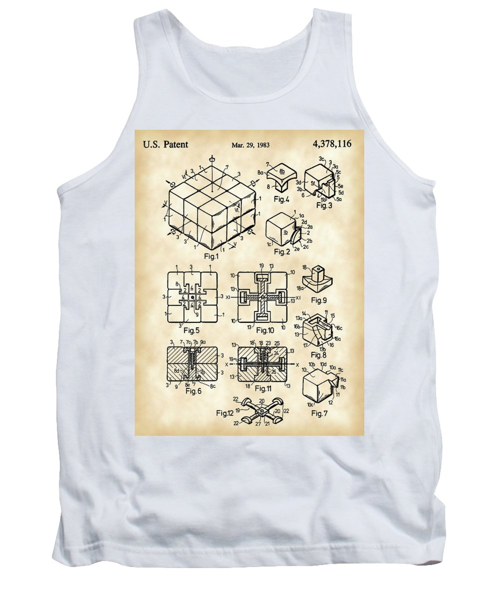Rubik's Cube Tank Top featuring the digital art Rubik's Cube Patent 1983 - Vintage by Stephen Younts