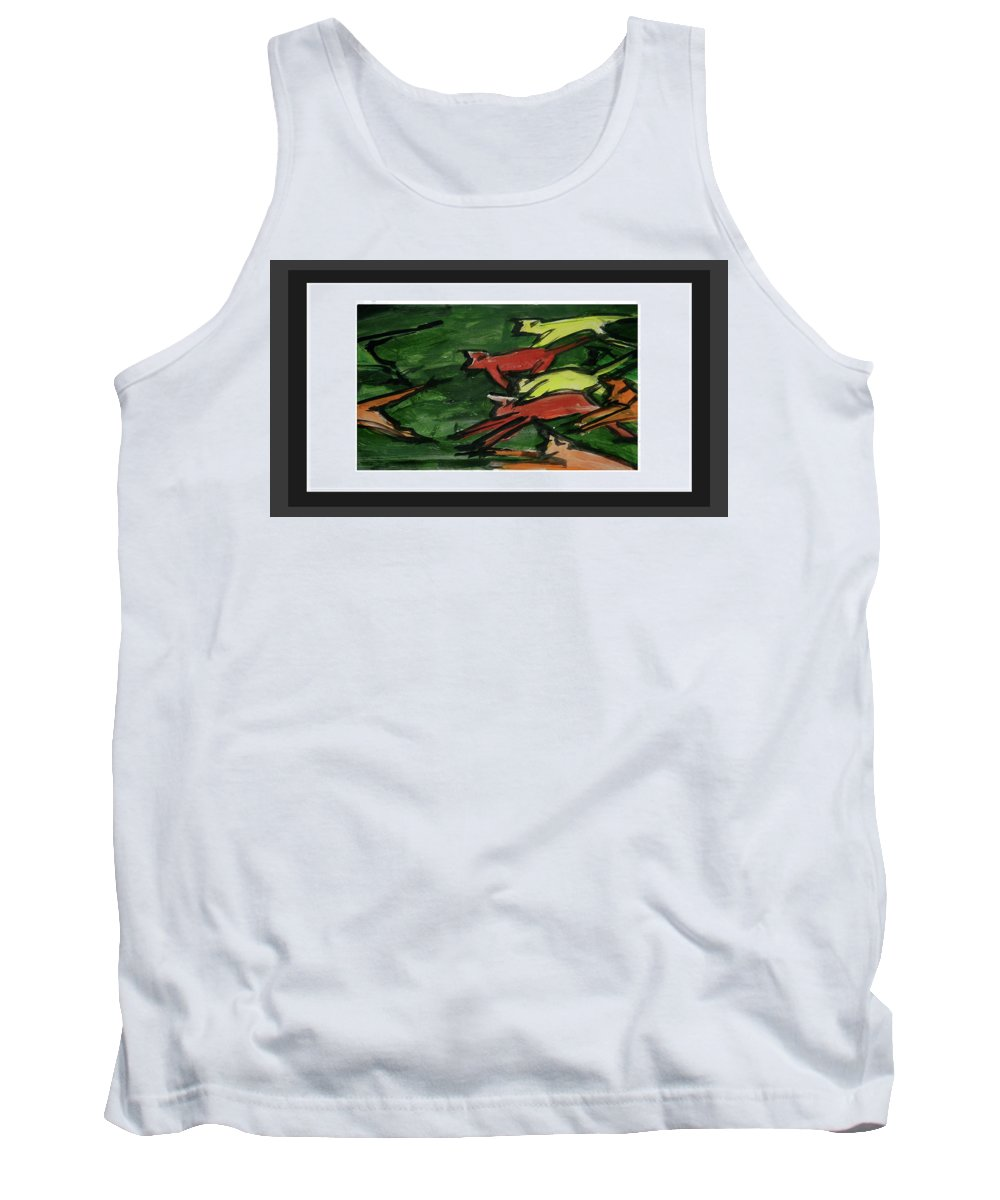 The Fun Of Monkeys Tank Top featuring the painting Runing by ROhit Ramanuj