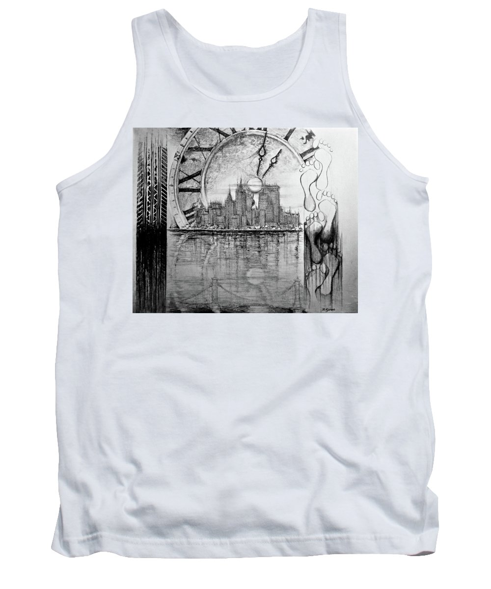 Drawing Tank Top featuring the drawing Rush Hour by Geni Gorani