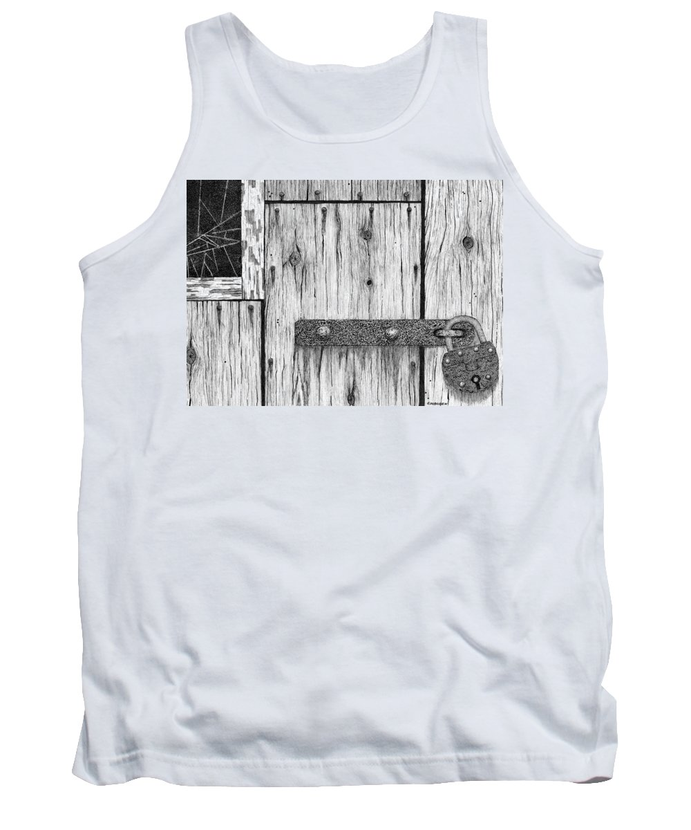 Rusted Lock Tank Top featuring the drawing Rusted Lock And Cracked Window by Ed Einboden