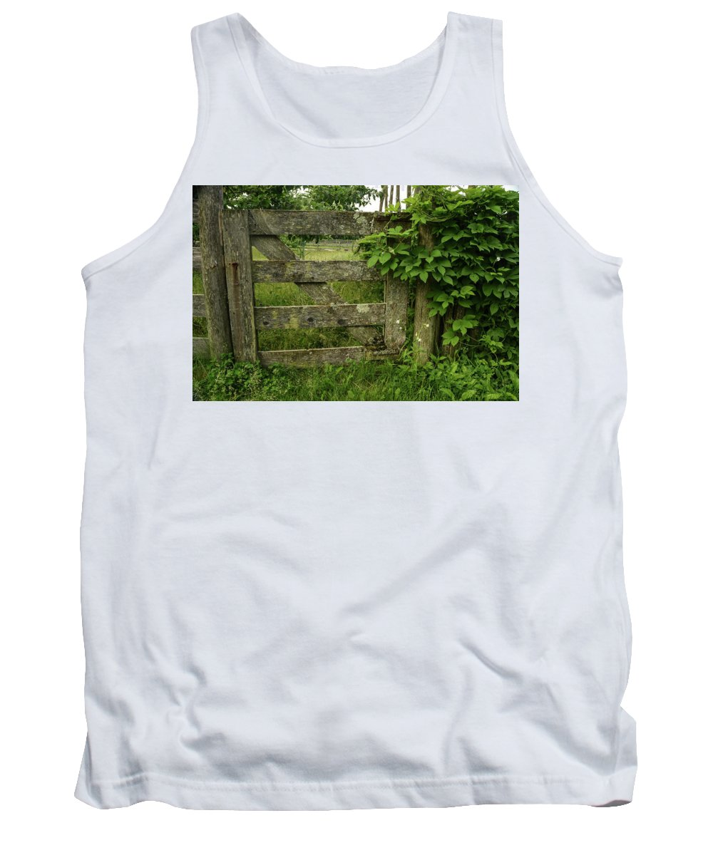 Gate Tank Top featuring the photograph Rustic Gate by Robert Coffey