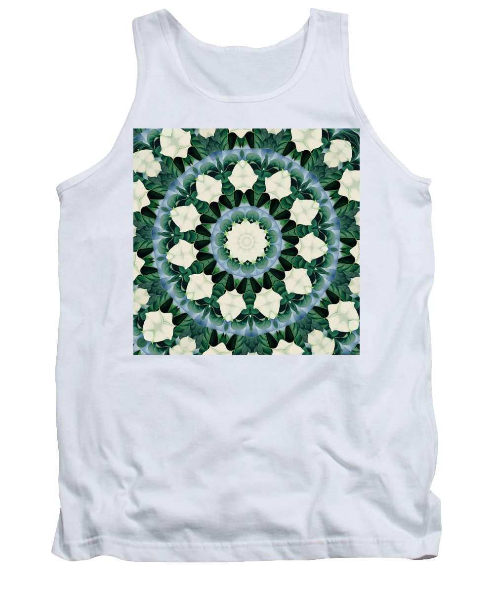 Mandala Tank Top featuring the digital art Sacramento Green And Cerulean Blue Mandala by Taiche Acrylic Art