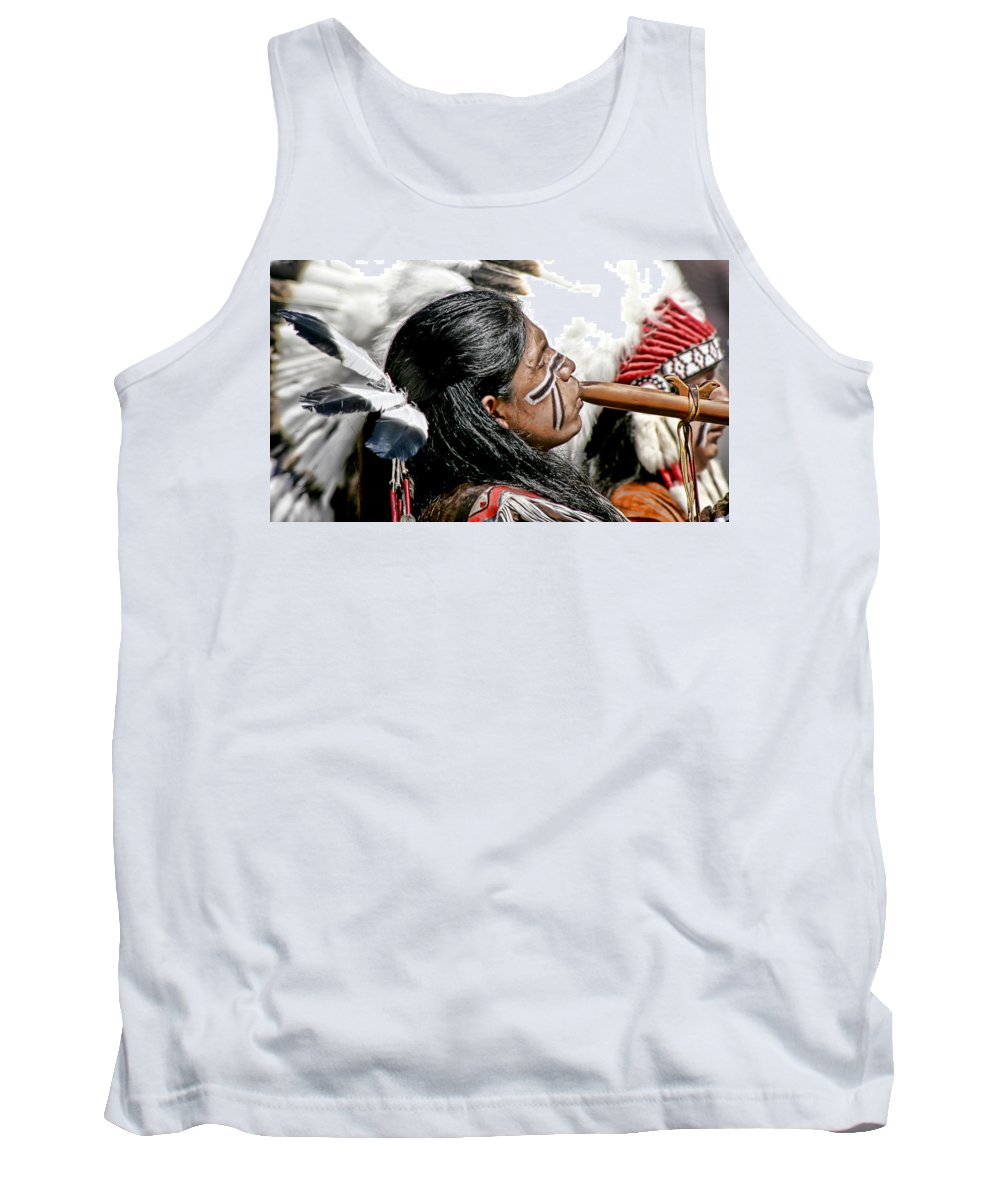 American Indian Tank Top featuring the photograph Sacred Flute by Donovan Torres