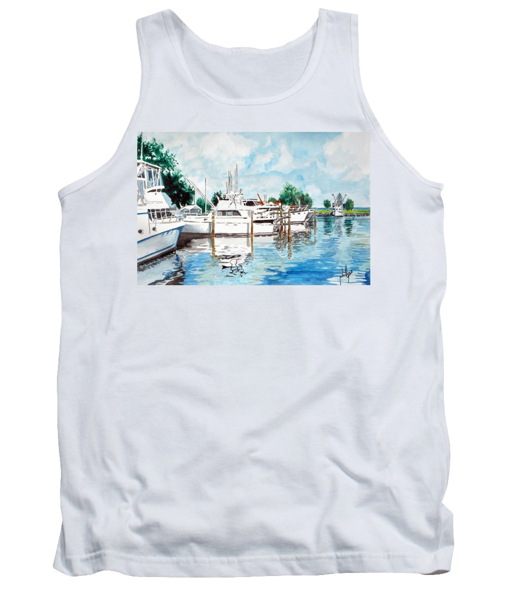 Boats Harbor Coastal Nautical Tank Top featuring the painting Safe Harbor by Jim Phillips