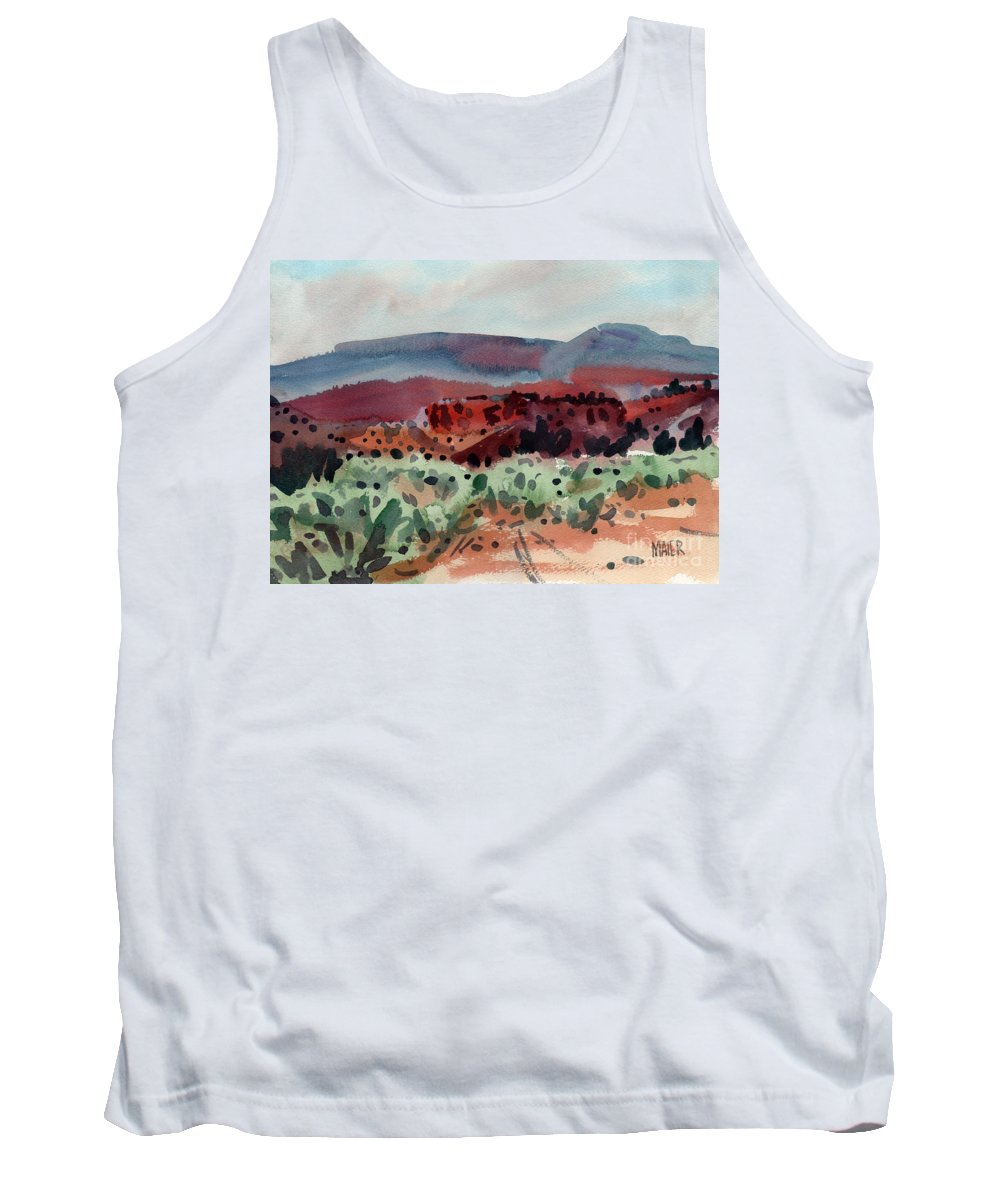 Southwestern Landscape Tank Top featuring the painting Sage Sand And Sierra by Donald Maier