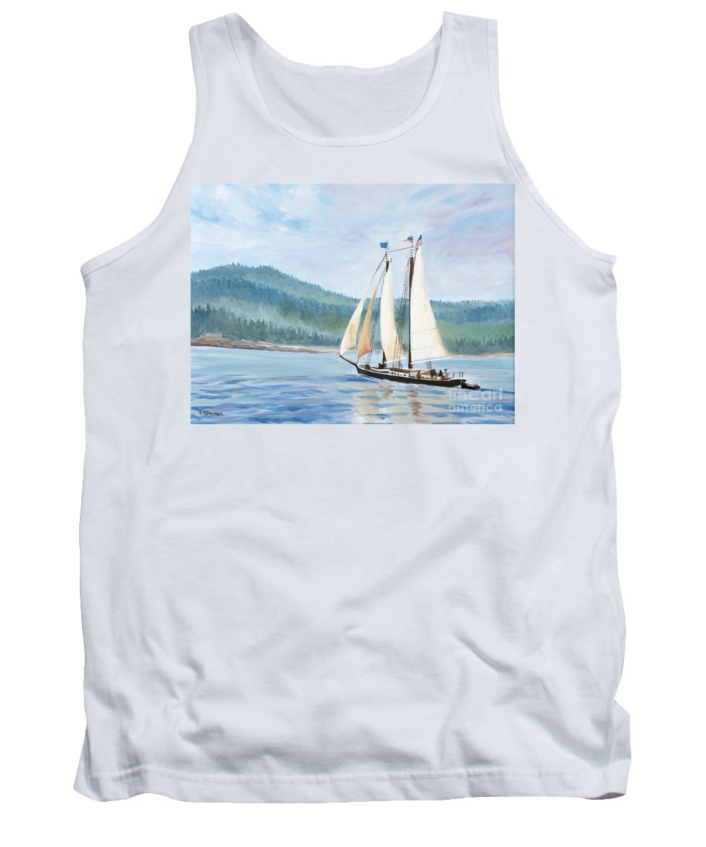 Schooner Ship Tank Top featuring the painting Sailing Into Castine Harbor by Stella Sherman
