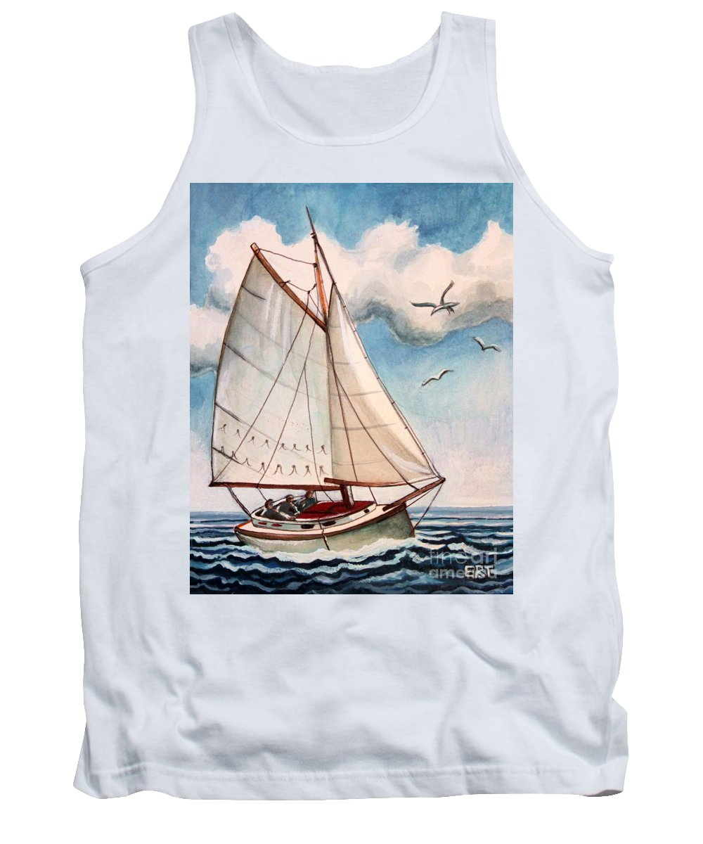 Sailing Tank Top featuring the painting Sailing Through Open Waters by Elizabeth Robinette Tyndall