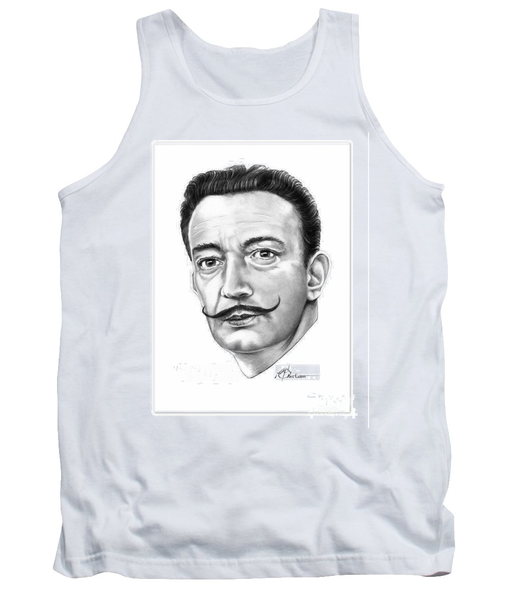 Drawing Tank Top featuring the drawing Salvador Dali by Murphy Elliott
