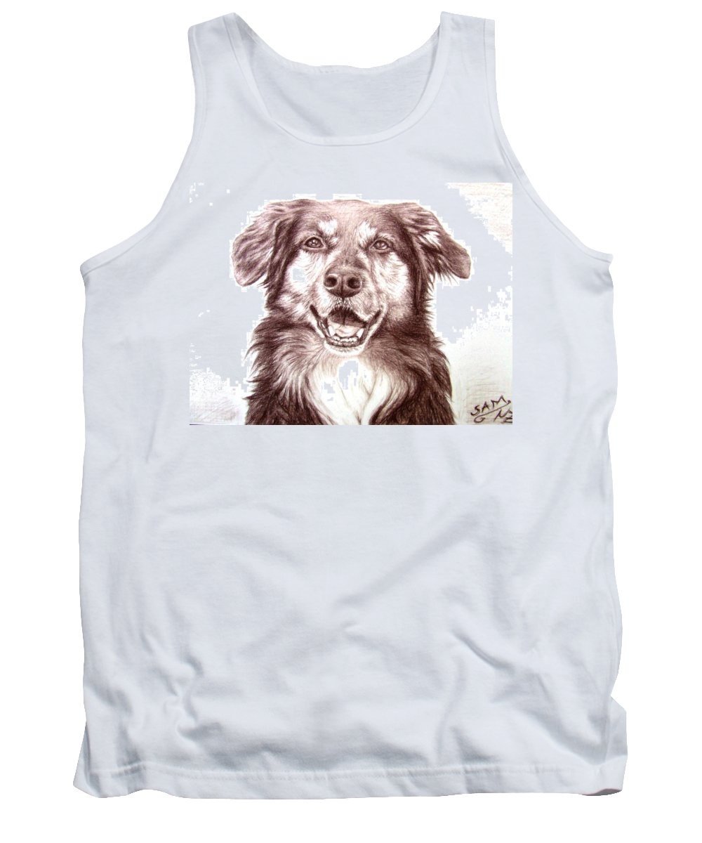 Dog Tank Top featuring the drawing Sam by Nicole Zeug