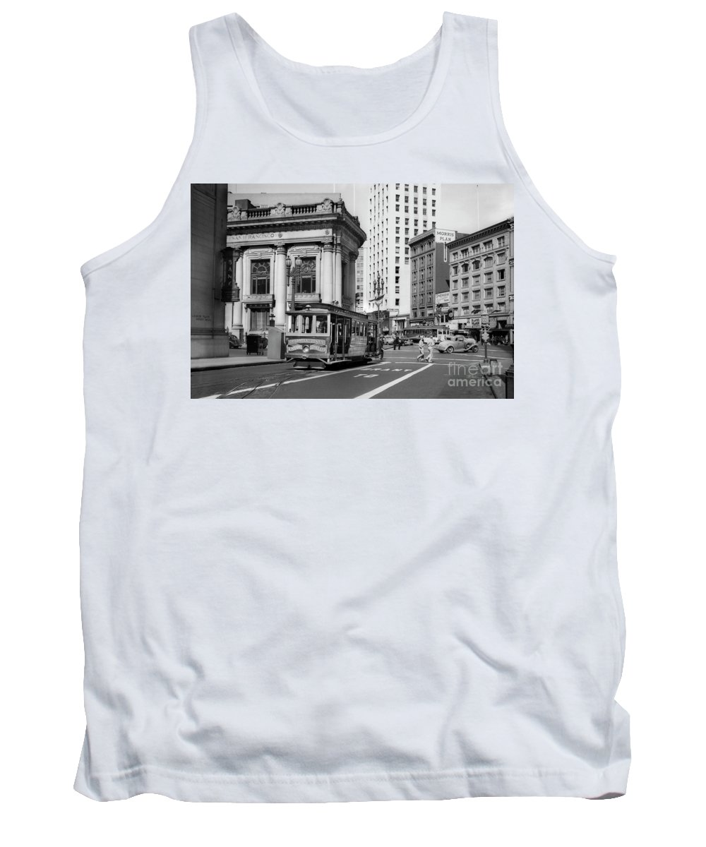 O'farrell At Market Street Tank Top featuring the photograph San Francisco Cable Car During Wwii by Wernher Krutein