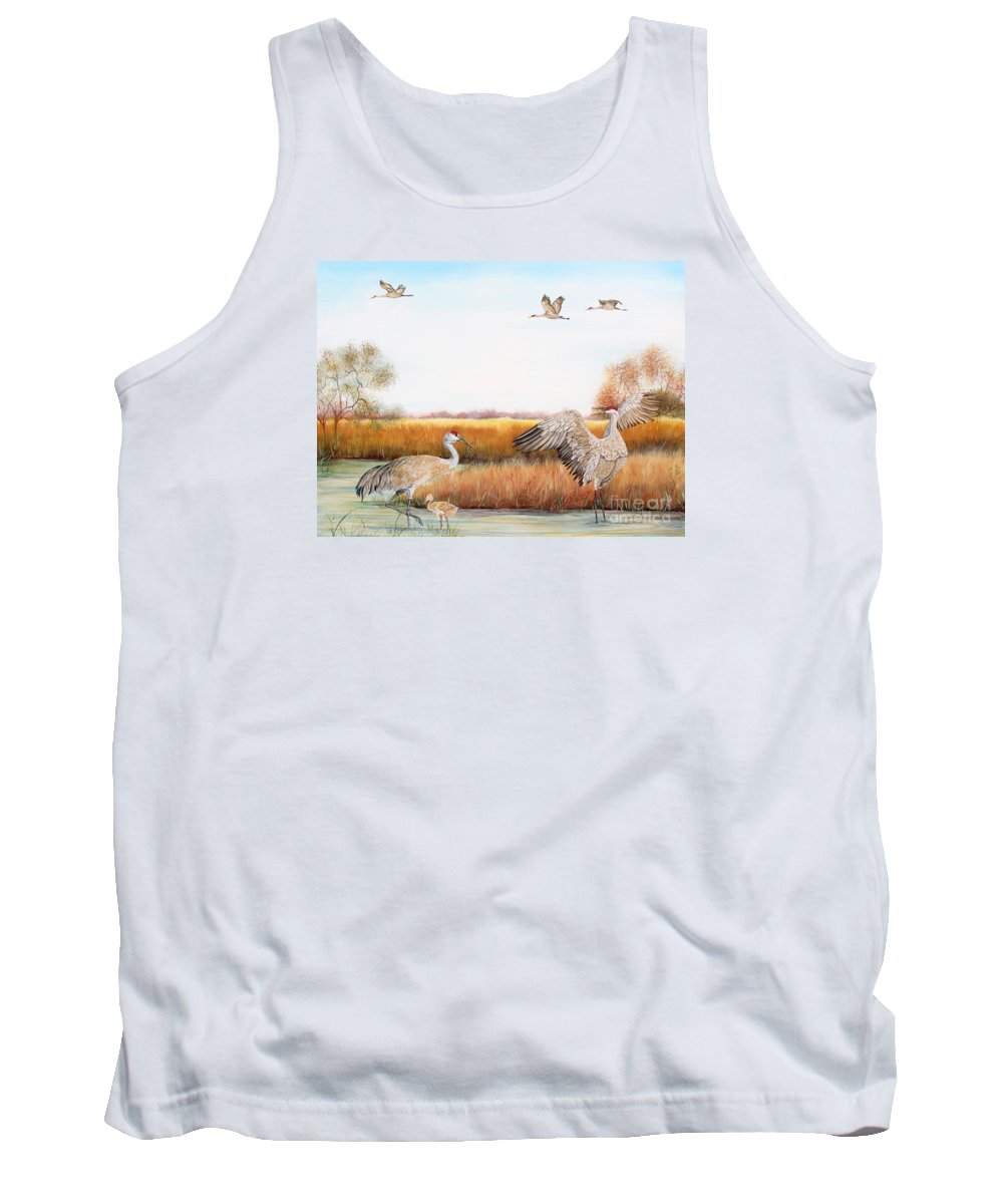 Jean Plout Tank Top featuring the painting Sandhill Cranes-jp3159 by Jean Plout