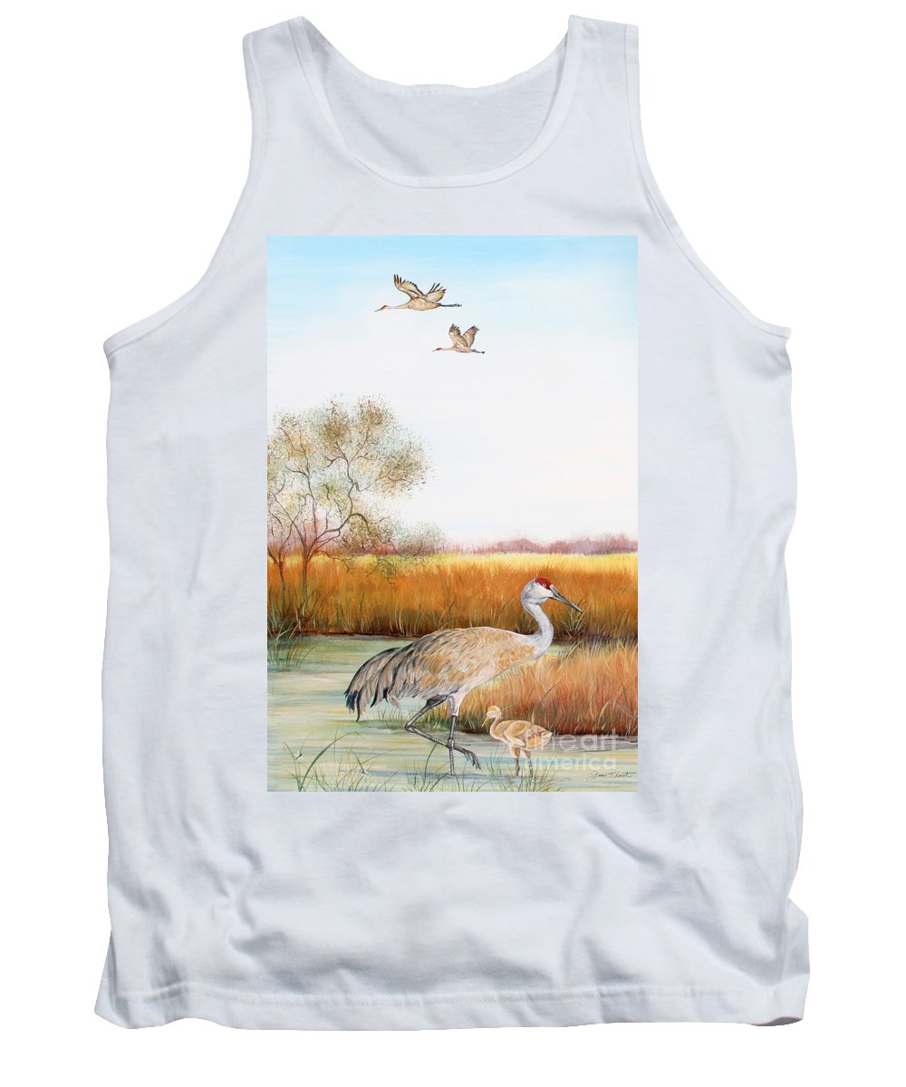 Jean Plout Tank Top featuring the painting Sandhill Cranes-jp3160 by Jean Plout