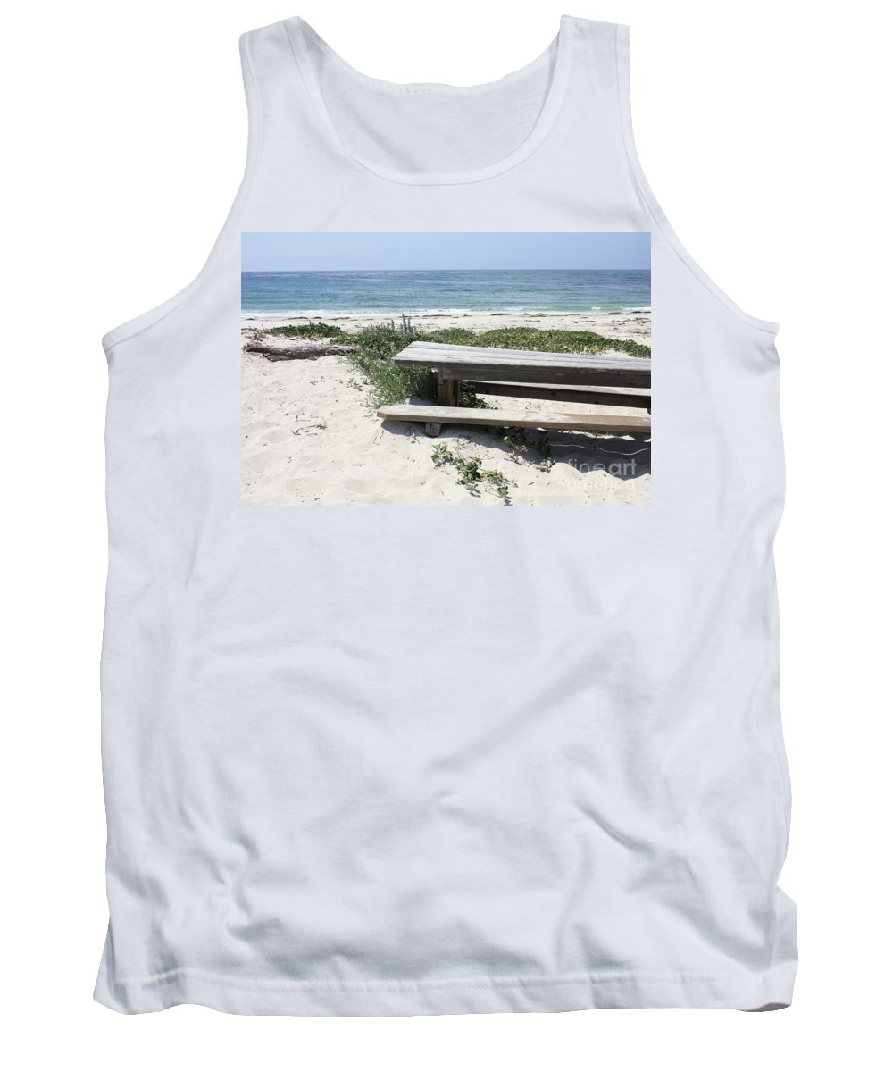Picnic Table Tank Top featuring the photograph Sandy Picnic Table by Carol Groenen