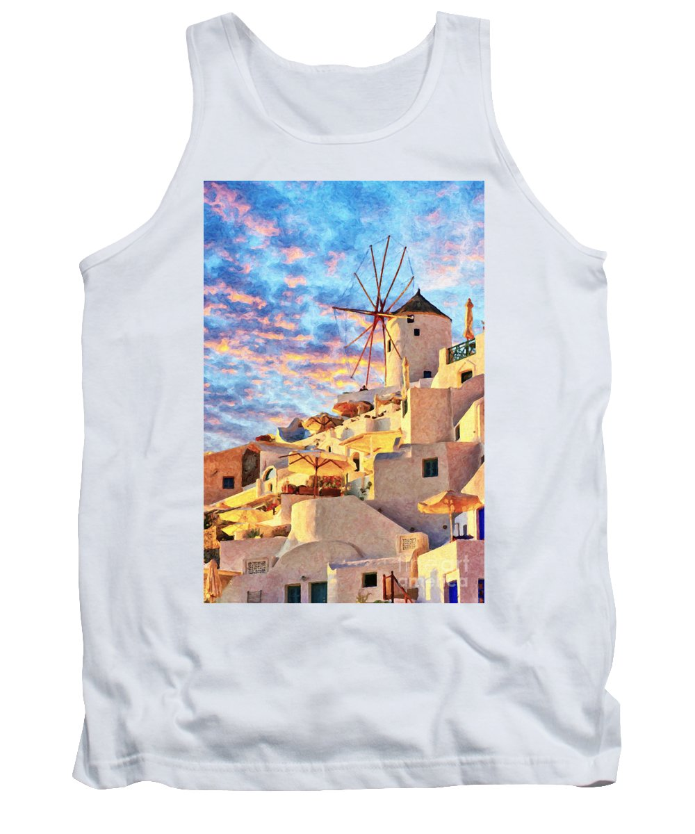 Digital Tank Top featuring the painting Santorini Windmill At Oia Digital Painting by Antony McAulay
