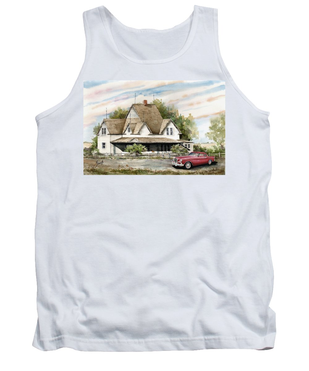 Hawk Studebaker Saturday Tank Top featuring the painting Saturday Evening 1964 by Sam Sidders