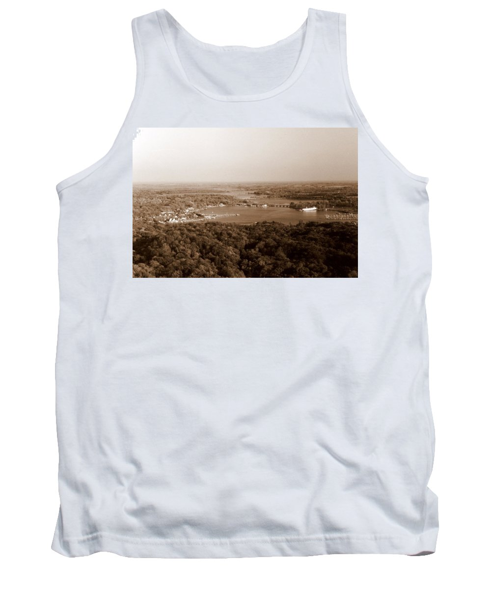 Saugatuck Tank Top featuring the photograph Saugatuck Michigan Harbor Aerial Photograph by Michelle Calkins