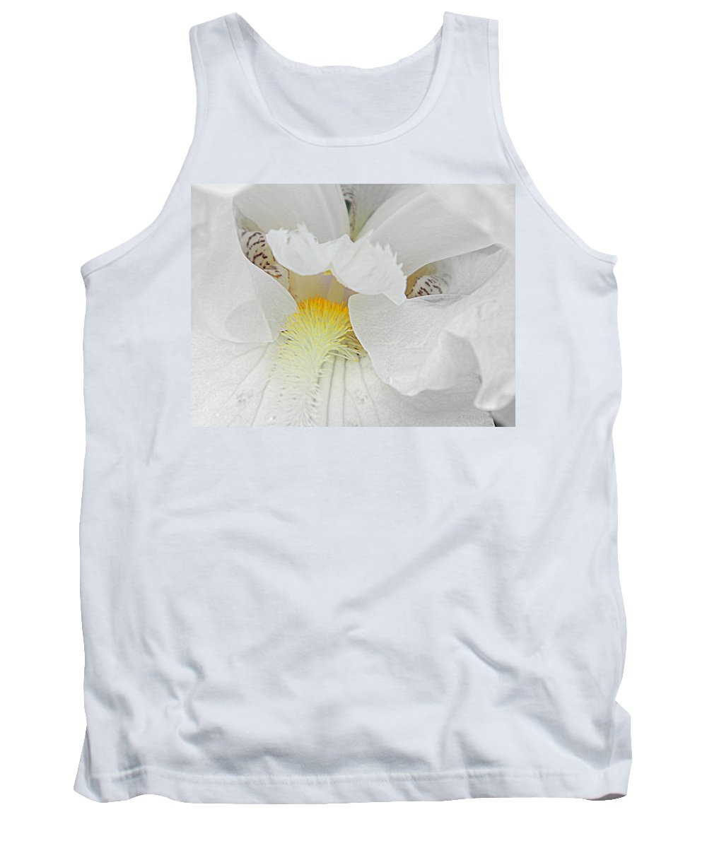 Iris Tank Top featuring the photograph Say Ahhh Iris Series 11 by Kathy Barney