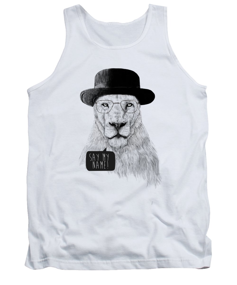 Lion Tank Top featuring the mixed media Say my name by Balazs Solti