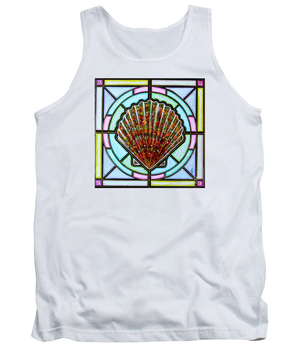 She Shells Tank Top featuring the painting Scallop Shell 1 by Jim Harris