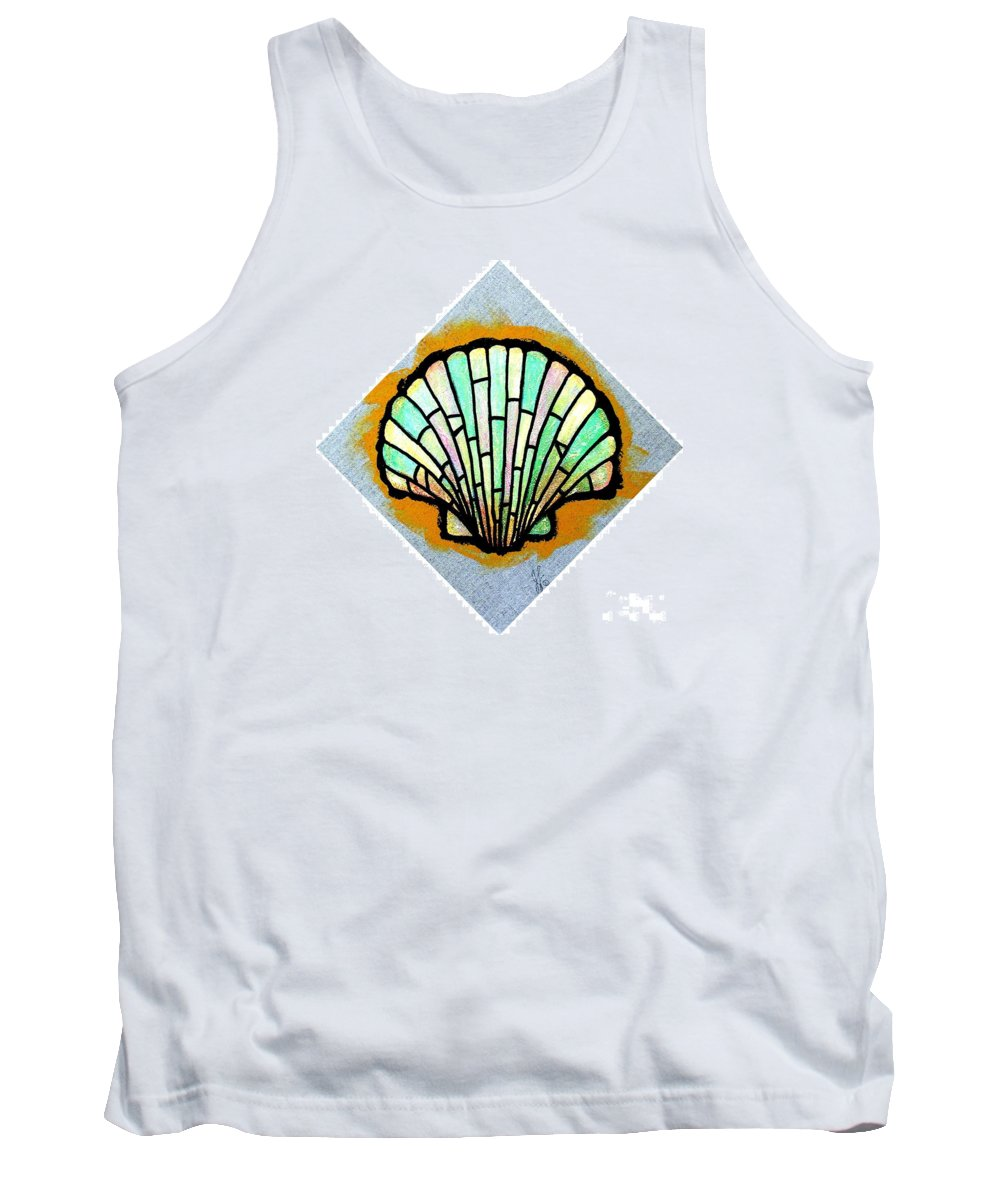 Shell Tank Top featuring the painting Scallop Shell by Jim Harris