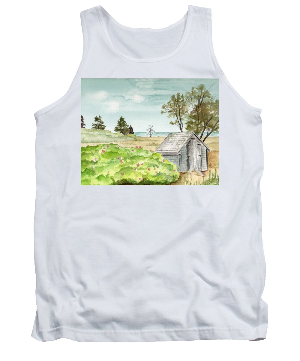 Landscape Watercolor Scenery Scenic Trees Roses Shed Building Art Painting Maine Tank Top featuring the painting Scenic Maine  by Brenda Owen