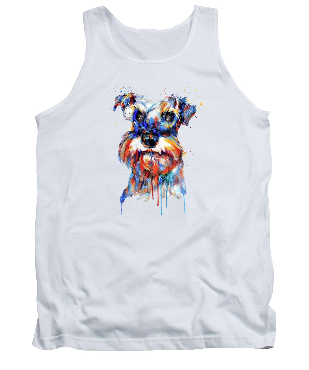 Schnauzer Tank Top featuring the painting Schnauzer Head by Marian Voicu