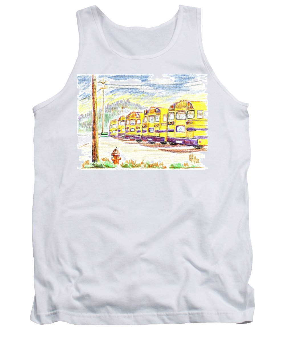 School Bussiness Tank Top featuring the mixed media School Bussiness by Kip DeVore