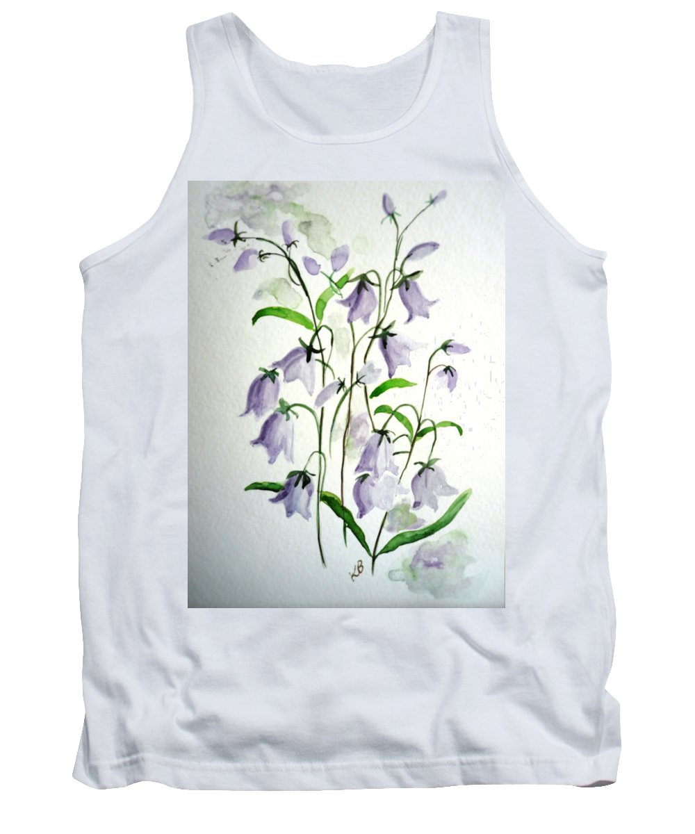 Blue Bells Hare Bells Purple Flower Flora Tank Top featuring the painting Scottish Blue Bells by Karin Dawn Kelshall- Best