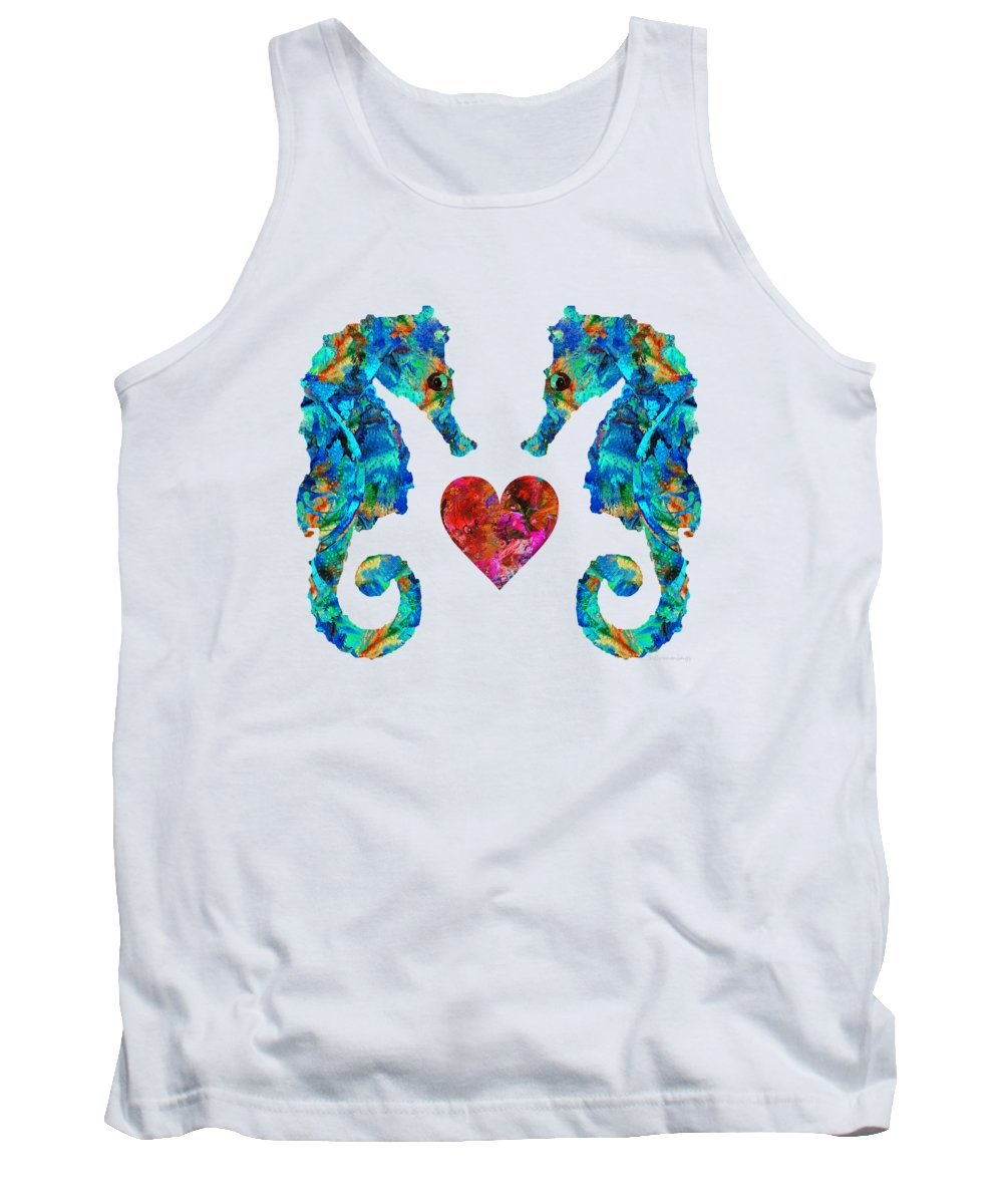 Seahorse Tank Top featuring the painting Sea Lovers - Seahorse Beach Art By Sharon Cummings by Sharon Cummings