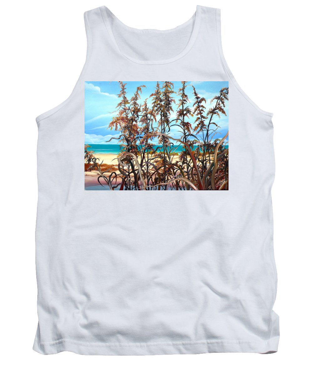 Ocean Painting Sea Oats Painting Beach Painting Seascape Painting Beach Painting Florida Painting Greeting Card Painting Tank Top featuring the painting Sea Oats by Karin Dawn Kelshall- Best