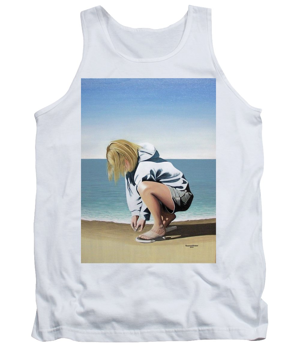 Landscape Tank Top featuring the painting Sea Shells On The Beach by Kenneth M Kirsch