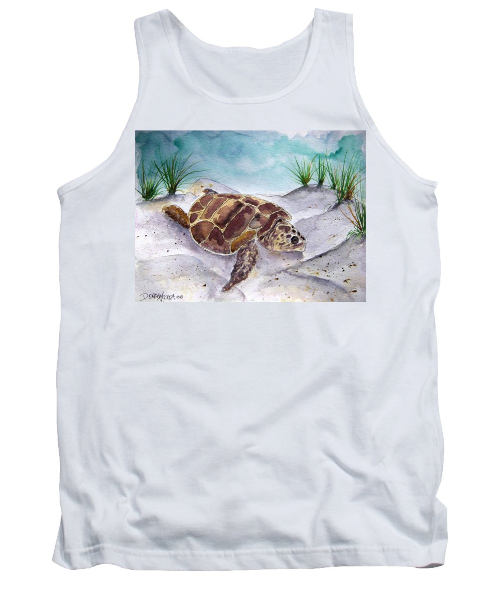 Sea Turtle Tank Top featuring the painting Sea Turtle 2 by Derek Mccrea