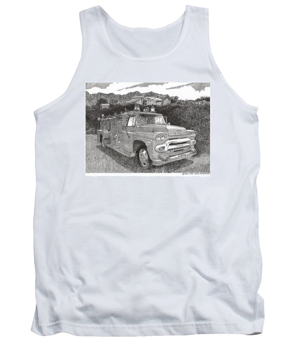 Images Of Seagrave Gmc Firetrucks. Automotive Prints Tank Top featuring the drawing Seagrave Gmc Firetruck by Jack Pumphrey