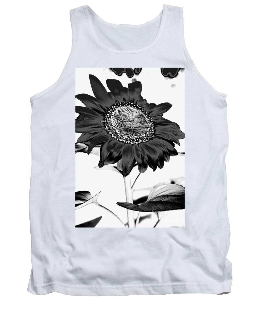 Black And White Photography Tank Top featuring the photograph Seattle Sunflower Bw Invert - Stronger by Heather Kirk