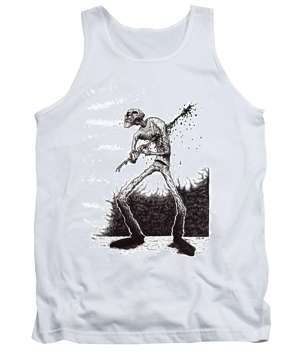 Dark Tank Top featuring the drawing Self Inflicted by Tobey Anderson