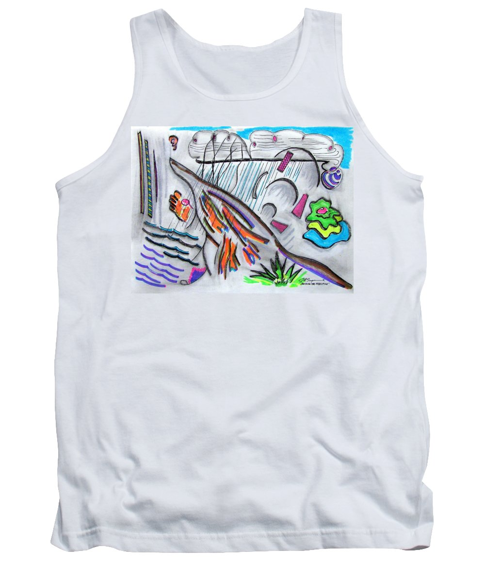 Abstract Drawing Tank Top featuring the drawing Sensing The Precipice by J R Seymour