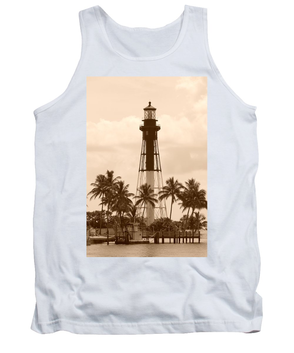 Sepia Tank Top featuring the photograph Sepia Light House by Rob Hans