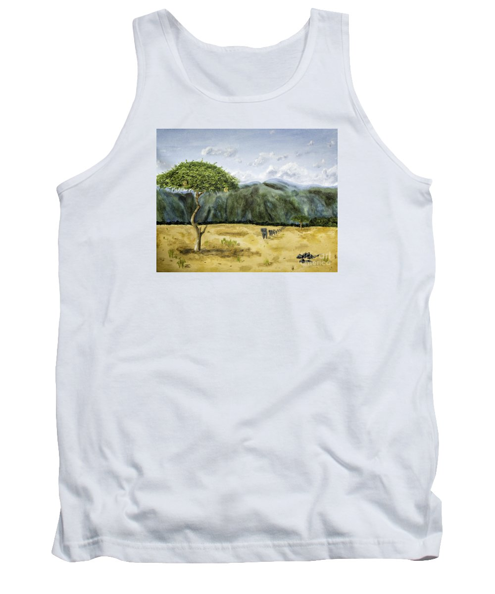 Acrylic Paintings Tank Top featuring the painting Serengeti Painting by Timothy Hacker