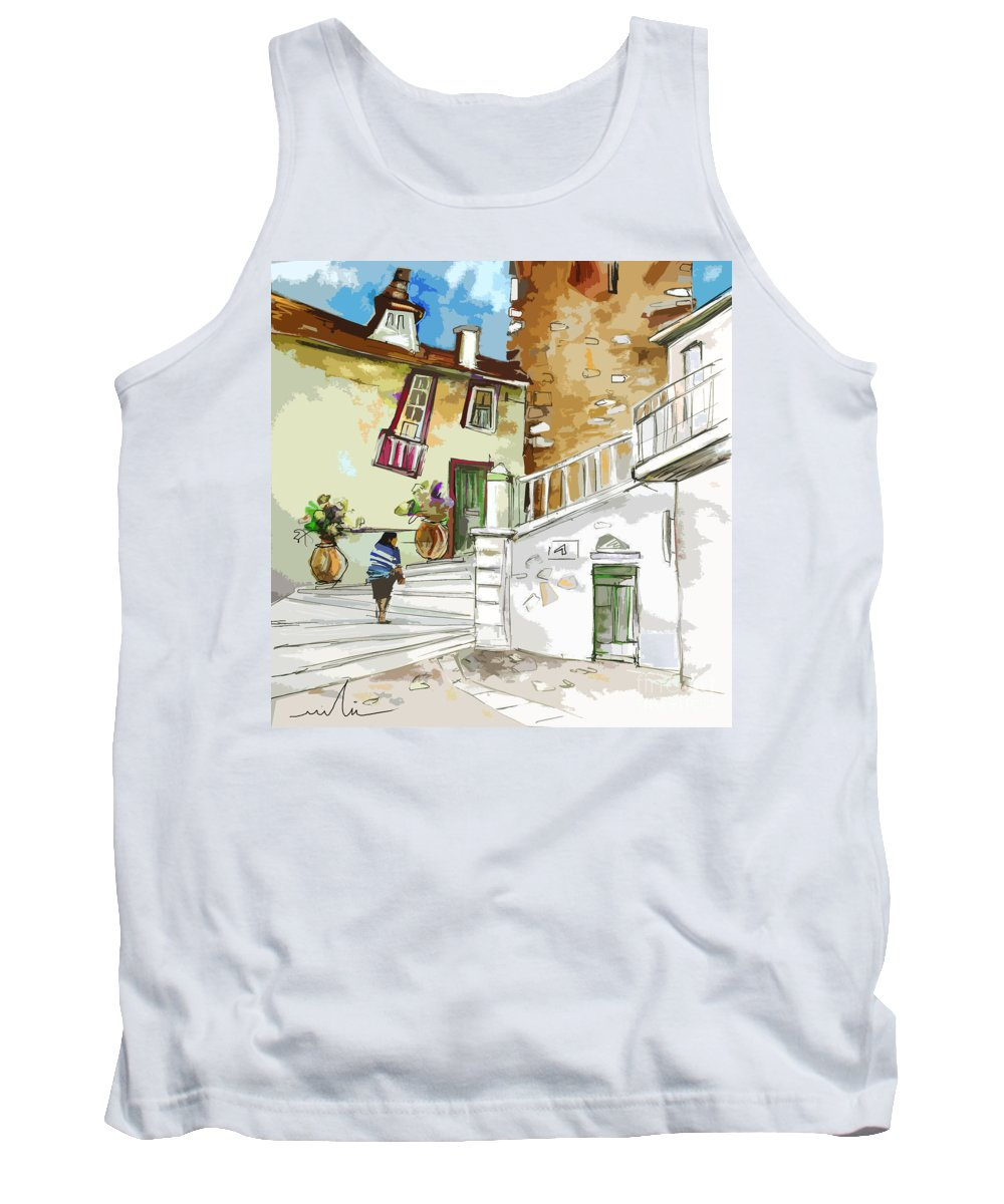 Painting Of Serpa Alentajo Portugal Travel Sketch Tank Top featuring the painting Serpa Portugal 03 Bis by Miki De Goodaboom
