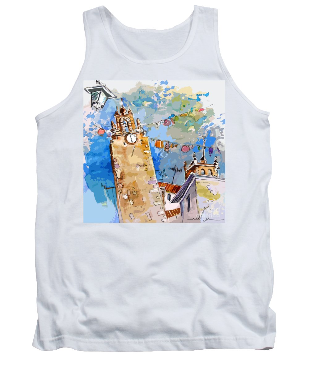 Painting Of Serpa Alentajo Portugal Travel Sketch Tank Top featuring the painting Serpa Portugal 08 Bis by Miki De Goodaboom