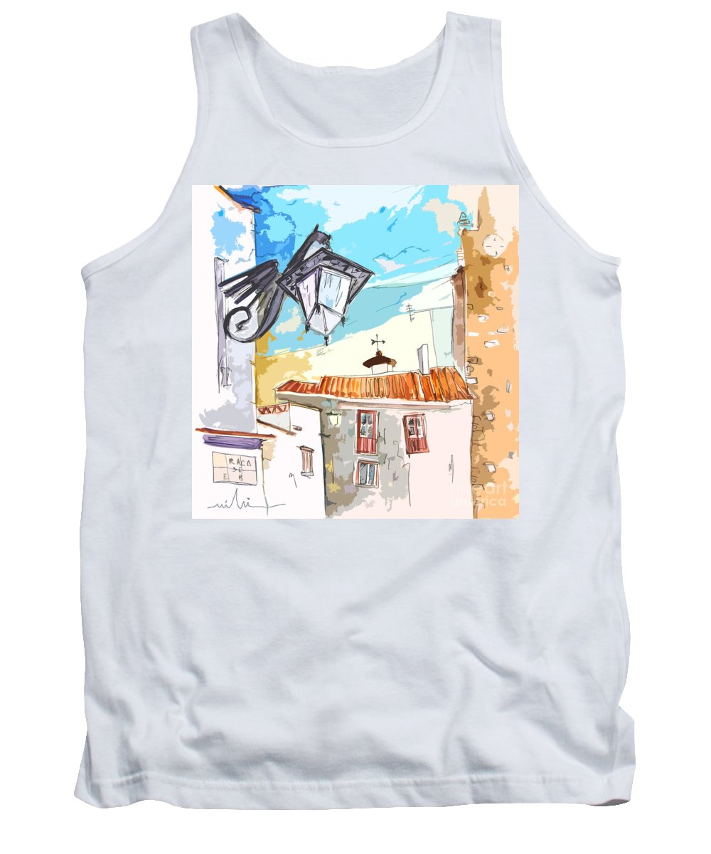 Painting Of Serpa Alentajo Portugal Travel Sketch Tank Top featuring the painting Serpa Portugal 09 Bis by Miki De Goodaboom