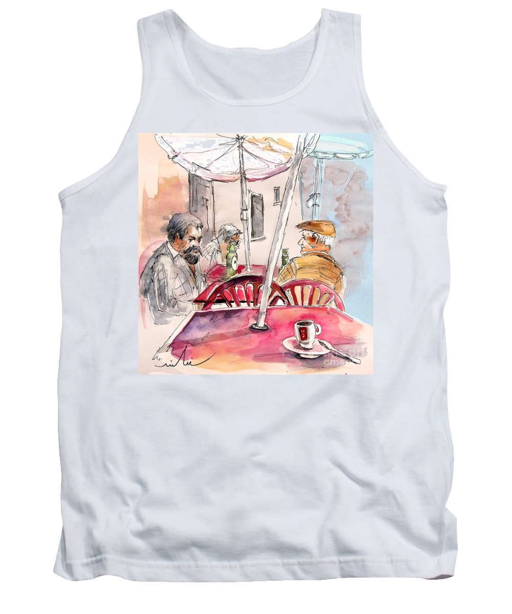 Water Colour Aquarelle Drawings Caricatures From People In Serpa Portugal By Miki Tank Top featuring the painting Serpa Portugal 32 by Miki De Goodaboom