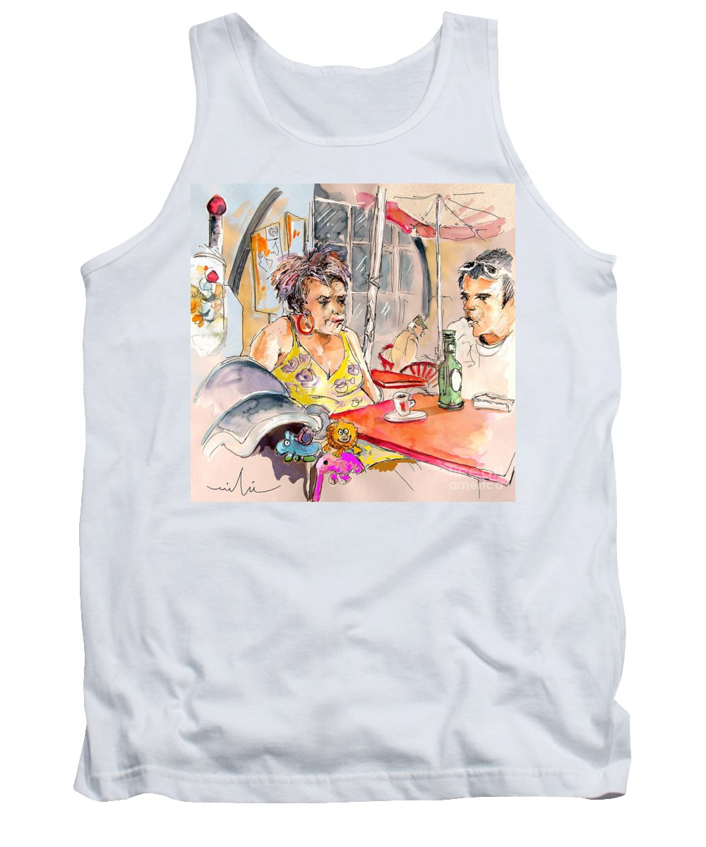 Water Colour Aquarelle Drawings Caricatures From People In Serpa Portugal By Miki Tank Top featuring the painting Serpa Portugal 34 by Miki De Goodaboom
