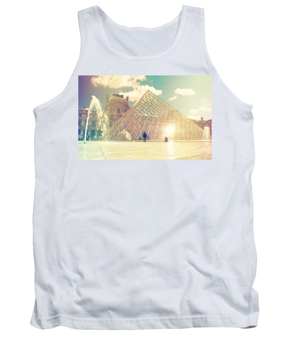 Architecture Tank Top featuring the photograph Shabby Chic Louvre Museum Paris by Sandra Rugina