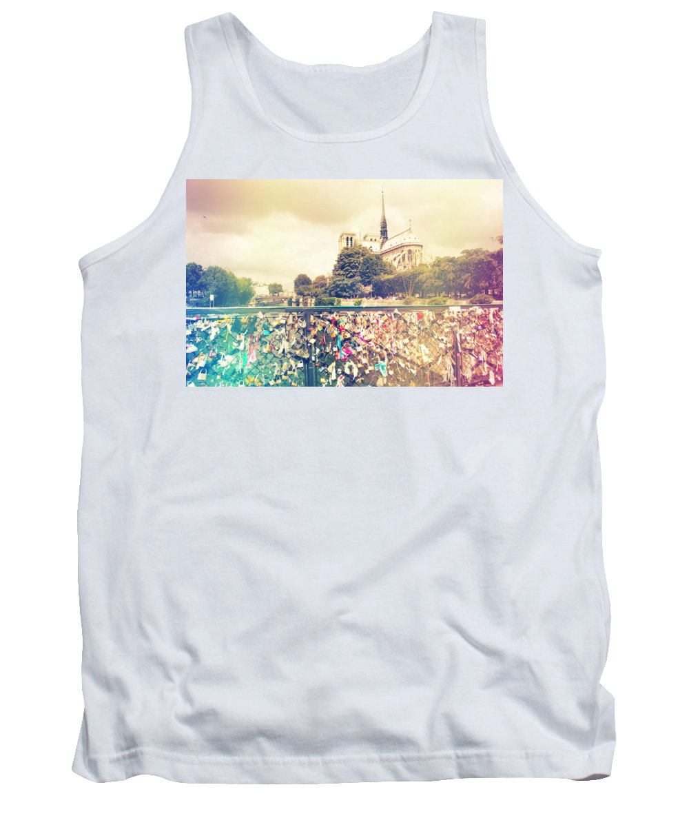 Architecture Tank Top featuring the photograph Shabby Chic Love Locks Near Notre Dame Paris by Sandra Rugina